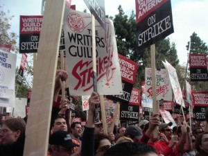 The 2007-08 Writers Guild strike drew big headlines, but many of the writers and editors that make Hollywood run are victims of wage theft and other basic labor law violations. (EvilMonkey / Wikimedia)
